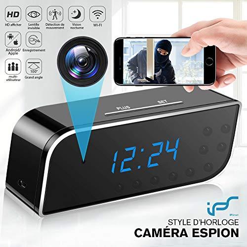 Caméra Espion,1080P Caméra Cachée WiFi Réveil Caméra de Surveillance de Vision Nocturne Nanny Mini...