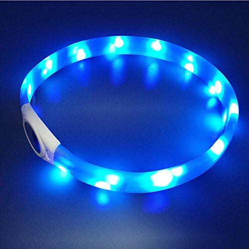 LED Hunde Halsband, LaRoo Blinkende Leuchtendes LED Sicherheit Halsbänder Katze Hundehalsband Halsband Sicherheitshalsband für Hunde und Katzen (Blau für Mittlere und Große Hunde)