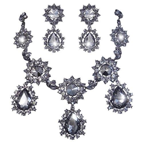 EVER FAITH® orecchini collana di cristallo austriaca Teardrop Girasole Nero Set Black-Tone - Strass Floreali Collana Orecchini