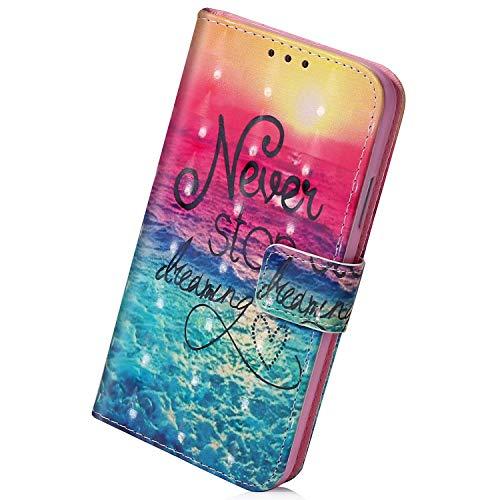 Herbests Kompatibel mit Samsung Galaxy A80 / A90 Handyhülle Leder Hülle Bunt Glänzend Glitzer Muster Klapphülle Flip Case Brieftasche Kartenfächer Schutzhülle Magnetverschluss,Sonne