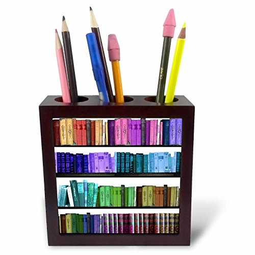 3dRose ph_112957_1 Buntes Bücherregal, Bücherregal, Bücherregale, Lesebuch, Geek Bibliothek, Nerd-Librarian Autor-Fliesen-Stifthalter 12,7 cm (Pen Geek 1 5 In)