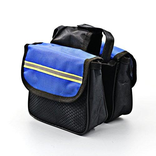 FAN4ZAME Fahrradtasche Vorderer Träger Pack Reitferien Zubehör Ausrüstung Tasche Fahrrad Zubehör Mountainbike Satteltasche Obere Rohr Beutel Blue 14cm*12cm*4cm