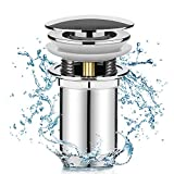 Linkax Universal Ablaufgarnitur mit Überlauf Pop Up Ventil Ablaufventil für Waschbecken/Waschtisch Abflussgarnitur Werkzeugloser Einbau