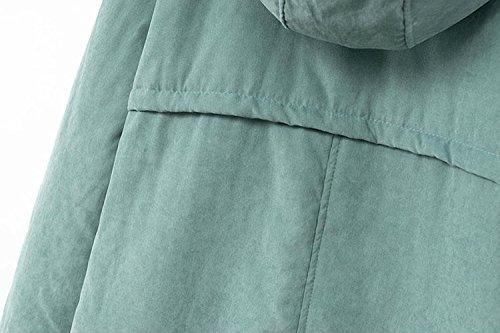 Newbestyle Damen Wintermantel Topqualität Warme Steppjacke mit Kapuze Grün