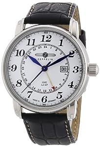 Reloj de caballero Zeppelin LZ 127 Transatlantic 7642-1 de cuarzo, correa de piel color plata de Zeppelin