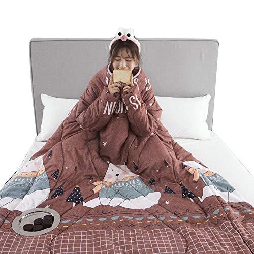 AHDA Winter Lazy Quilt, Lazy Quilt with Sleeves, Warme Und Waschbare Steppdecke,A,150cm*200cm