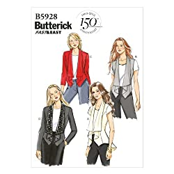 Butterick Patterns B5928 Misses' Vest and Jacket Sewing Template, Size E5 (14-16-18-20-22)