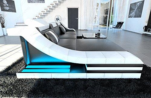 Luxus Sofa TURINO L-Form schwarz-weiss