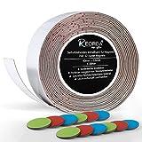 Reorda Selbstklebendes Metallband für Magnete (weiß) - Schneidbar I Belastbar I Flexibel I Ferroband mit 12 bunten Bonus Haftmagneten (Band Länge 6m, Breite 4cm)