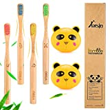 Bamboo Toothbrushes - Kids Toothbrushes, Soft Bristle Toothbrush, Biodegradable and Eco Friendly, Pack of 4