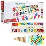 Gioco di Abbinamento in Legno 3 in 1 Lettera e Numero Accoppiamento di Giocattoli Forma Colore Sorter di Riconoscimento Set di attività Educative Prescolari Regalo per 3 4 5 6 7 Anni Bambini