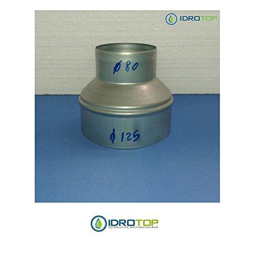 Manicotto Riduzione 125/80-per le Tubazioni flessibili e rigide Aria Calda e Fredda