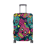 MyDaily Floral Skull Luggage Cover Fits 18-32 inch Suitcase Spandex Travel Protector