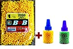 Package contents : approx. 2000 BB Pellets sealed pack (Yellow) + 2 Bottles of 200 BBs in each of Random colors