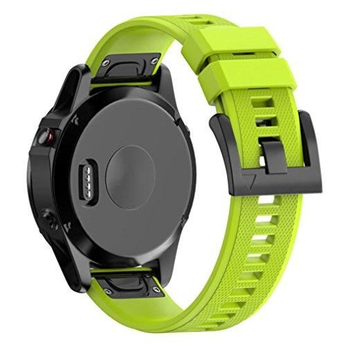 220MM ersatzband armband Uhrenarmband bracelet fitnessarmband für Garmin Fenix 5 plus GPS-Uhr, Ersatz-Silikagel-weiches Band-schnelles Installations-Band-Bügel für Garmin Fenix 5 plus GPS-Uhr Watch (Grün)