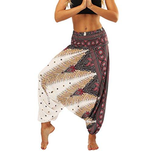 Lvguang Pantalones De Estilo Hippie De Los Mujer De La Vendimia del Estilo Nacional Pantalones Holgados Bombachos Ocasionales del Hippie (Estilo4, One Size)