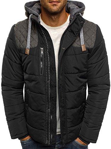 OZONEE Herren Winterjacke Steppjacke Sweatjacke Wärmejacke Jacke Gesteppt J.BOYZ X1039K SCHWARZ 2XL