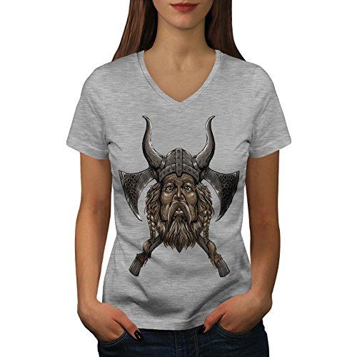 wellcoda Wikinger Helm AXT Frau 2XL V-Ausschnitt T-Shirt