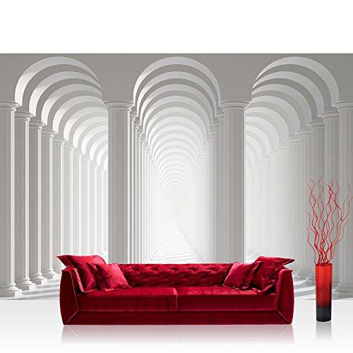 Schatten Bogen (Fototapete 368x254 cm PREMIUM Wand Foto Tapete Wand Bild Papiertapete - Architektur Tapete Säulen Architektur Gasse Weg Bogen Schatten Licht weiß - no. 2030)