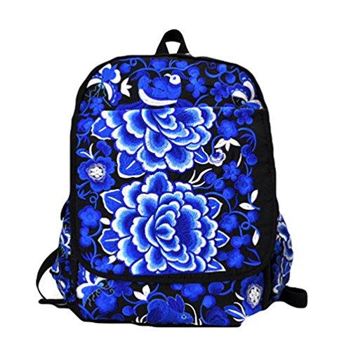 YAANCUN Donna Ragazze Tela Zaino Ricamo Stampa Scuola Borsa Scuola Zaini Backpack Zainetto Casual Turismo Come l'immagine#5
