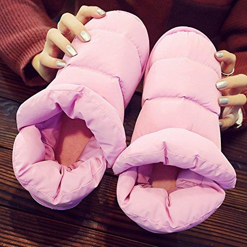 DogHaccd pantofole,Luce il lusso all-inclusive inverno uomini e donne matura con anti-slittamento interno casa bella calda felpa cotone mop Rosa1