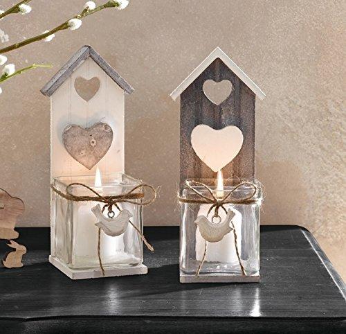 floristikvergleich.de 2 Stk. Windlicht Vogelhaus Tischdeko Hochzeit Landhaus Windlichter Holz Glas weiss grau Shabby Chic Nostalgie Vintage Vogelkäfig