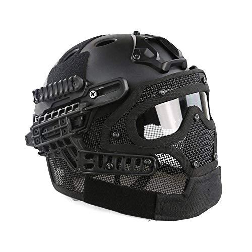 NICEWL Taktischer Helm Schutzmaske-Paintball Taktischer Schutzhelm Typ PJ Schneller Helm, Maske Mit Schutzbrille Militär Airsoft Outdoor Shooting Combat CS Game