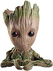 Baby Groot Blumentopf - Marvel Action-Figur aus Guardians of The Galaxy für Pflanzen & Stifte I AM Groot (D)