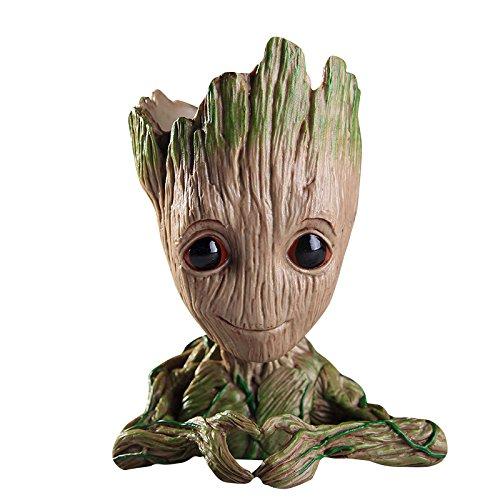 Baby Groot Maceta - Maravillosa Figura de acción de Guardians of The Galaxy para Plantas y bolígrafos - Perfecto como Regalo - Soy Groot (D)