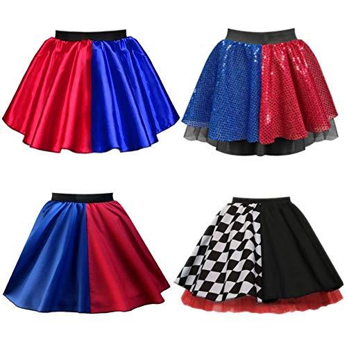 Für Kostüm Damen Bösewicht - Harley Rock für Damen, Rot/Blau, 4 Styles - Harlekin Super Bösewicht Halloween-Kostüm Gr. 44, Poly Red/Blue Skirt
