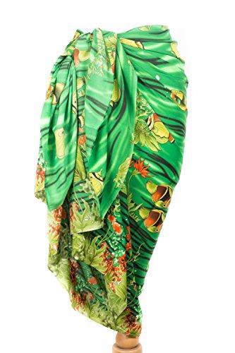 Bunte Damen Beach Sarong Wrap Badebekleidung Chiffon Fisch Palmen Design Verschiedene Farben Styles KD4001 Green