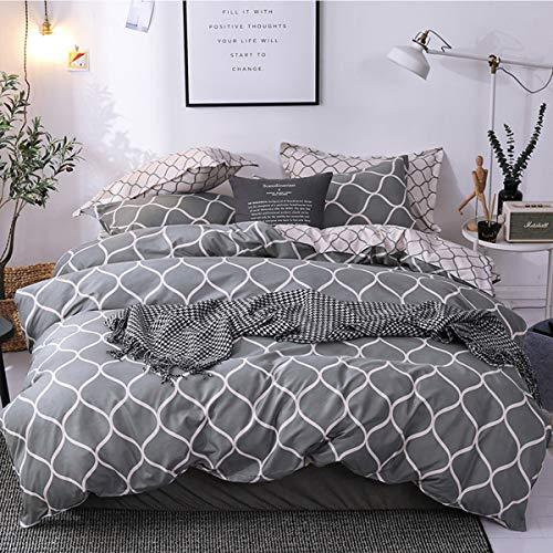 3 Stück Queen-size-schlafzimmer-set (NAWAISH Nawai Bettwäsche-Set, hochwertige Mikrofaser, Gittermuster auf Schmusetuch, 3 Stück: 1 x Bettbezug, 2 x Kissenbezüge, mit Reißverschluss (Queen-Size), Siehe Abbildung, Doppelbett)