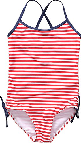 CharmLeaks Toddler Girls Cross Back One Piece Swimming Costume Striped Swimwear