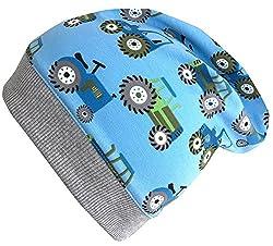 Wollhuhn Beanie-Mütze TRECKER/Traktor in hellblau mit grauem Bündchen, für Jungen und Mädchen, 20170813, Gr S: KU 48/50 (ca 1-3 Jahre)