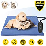 Pet Heating Pad,Dog Electric Heating Pad,50x40CM Large Waterproof Heating Pad for Cats,Heated Mat Bed Safety Heating Indoor Adjustable Warming Mat for Pets with 210CM Length Chew Resistant Steel Cord