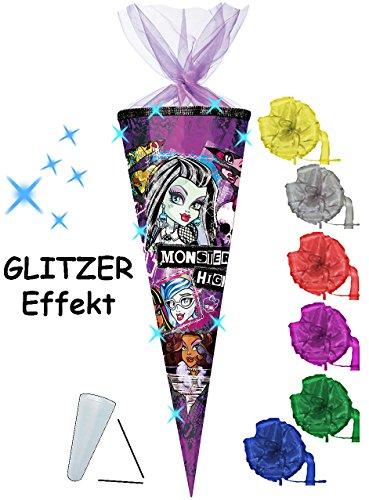 alles-meine.de GmbH 3-D Glitzer Effekt _ ! - Schultüte -  Monster High  - 85 cm / 12 eckig - incl. Schleife - Organza Abschluß - Zuckertüte - mit / ohne Kunststoff Spitze - für..