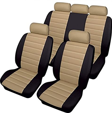 WLW Easy Clean Styling Leather Look Beige/Black Styling Cream Car Seat Covers
