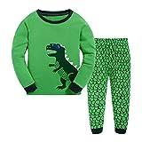 Lange Ärmel Mond Stern Jungen Pajama Sets Baumwolle Kinder Nachtwäsche Schlafanzug Kinder Dinosaurier Pyjamas Sets Kleinkind Pjs 1-12 Jahre (140-145CM / 6-7 Jahre, Grün)