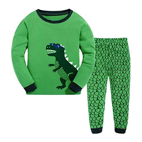 TTLOVE Junge Baumwolle Lange Ärmel T-Shirt Tops und Hosen Cartoon-Muster Dinosaurier Bekleidungsset Set (Grün,(4T,3-4 Jahre)) (4t Dinosaurier Kostüme)