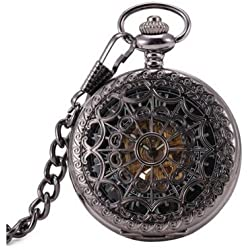 Antique Hollow Case Retro Pendant Luminous Hands Scale Roman Numerals Dial Automatic Mechanical Pocket Watch with Gift Box and Chain Black