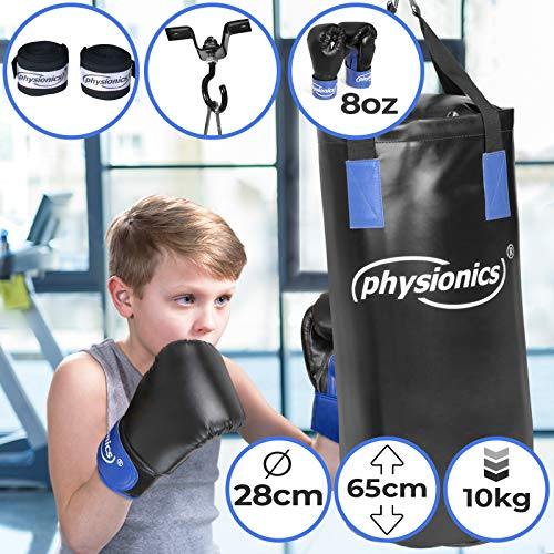 Physionics Junior Boxsack-Set 5-teilig Kinder Boxsack-Kit 28/65 cm 10 kg Boxhandschuhe - 8 oz inkl. Deckenbefestigung und Karabinerhaken Kikboxen MMA Kampfsport