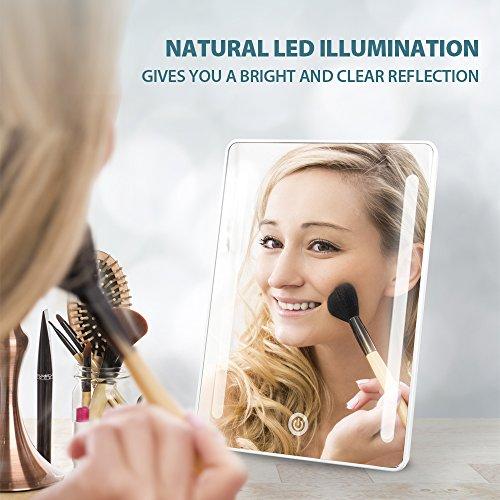 Jerrybox Schminkspiegel mit Beleuchtung Beleuchteter Kosmetikspiegel LED Make up Spiegel Faltbarer Standspiegel Tischspiegel, 180° Einstellbar, Dimmbar, Kompakt, Perfektes Geschenk für Frauen, Weiß - 2