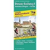 Radtourenkarte Donau-Radweg 1, Donaueschingen - Passau: Mit Ausflugszielen, Einkehr- & Freizeittipps, reissfest, wetterfest, beschriftbar, GPS-genau, Maßstab 1:50000