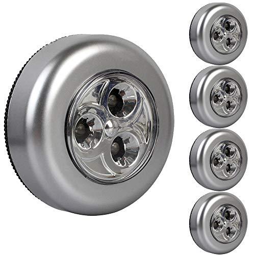 ShenShuai 5er-Set Stick&Push LED Touch Lampe Nachtlicht Leuchten Batteriebetrieben selbstklebend Küchenlampen Schrankleuchten (Silber-5pcs)
