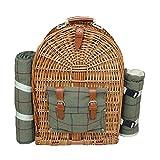 Mochila de pícnic Red Hamper FH075 para 4 personas, con piezas de tweed verde, color marrón, 50x 21x 36cm