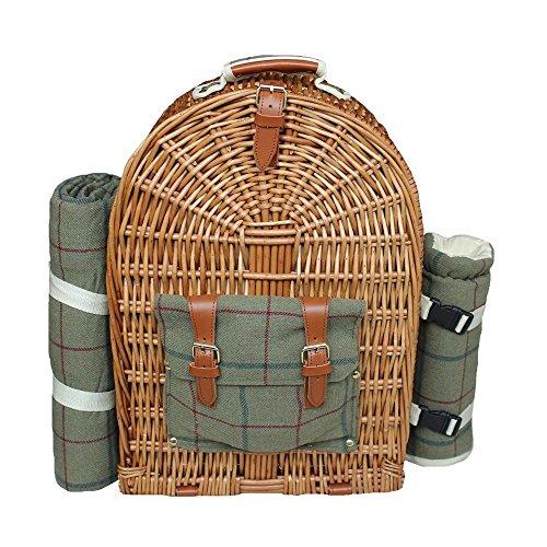 Rojo Hamper fh0754persona Verde Tweed sábana bajera Picnic mochila, marrón, 50x 21x 36cm