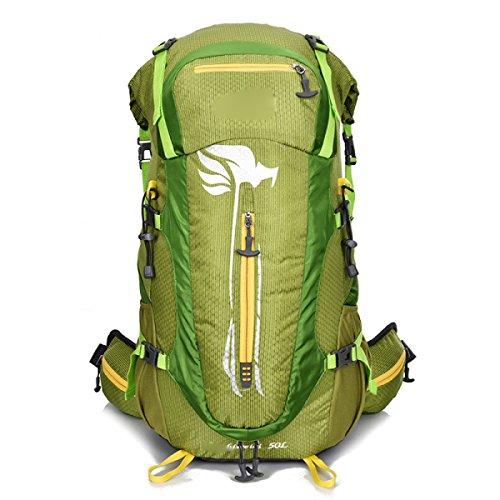 Outdoor Bergsteigen Tasche Rucksack Große Kapazität Reisebeutel Wandern Rucksack,Orange Green