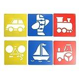 6X Bambini Trasporto Forma Plastica Pittura Disegno Modello Stencil Giocattolo Bambini