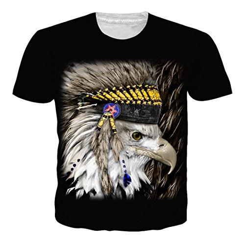 Leapparel Unisex 3D afrikanischen Tribal Hooded Eagle Grafik Print Kurzarm Lustige T-Shirt Top für Jungen und Mädchen Schwarz S (Print Top Tribal)