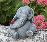 Tiefes Kunsthandwerk Steinfigur Elefant klein Schiefergrau, Deko Figur